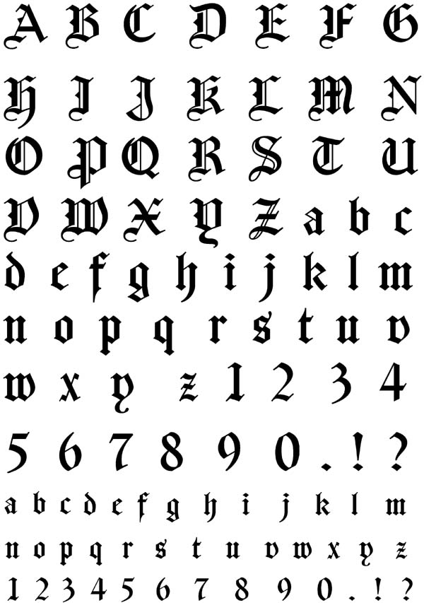 German Gothic Font Unmounted Rubber Stamp Sheet