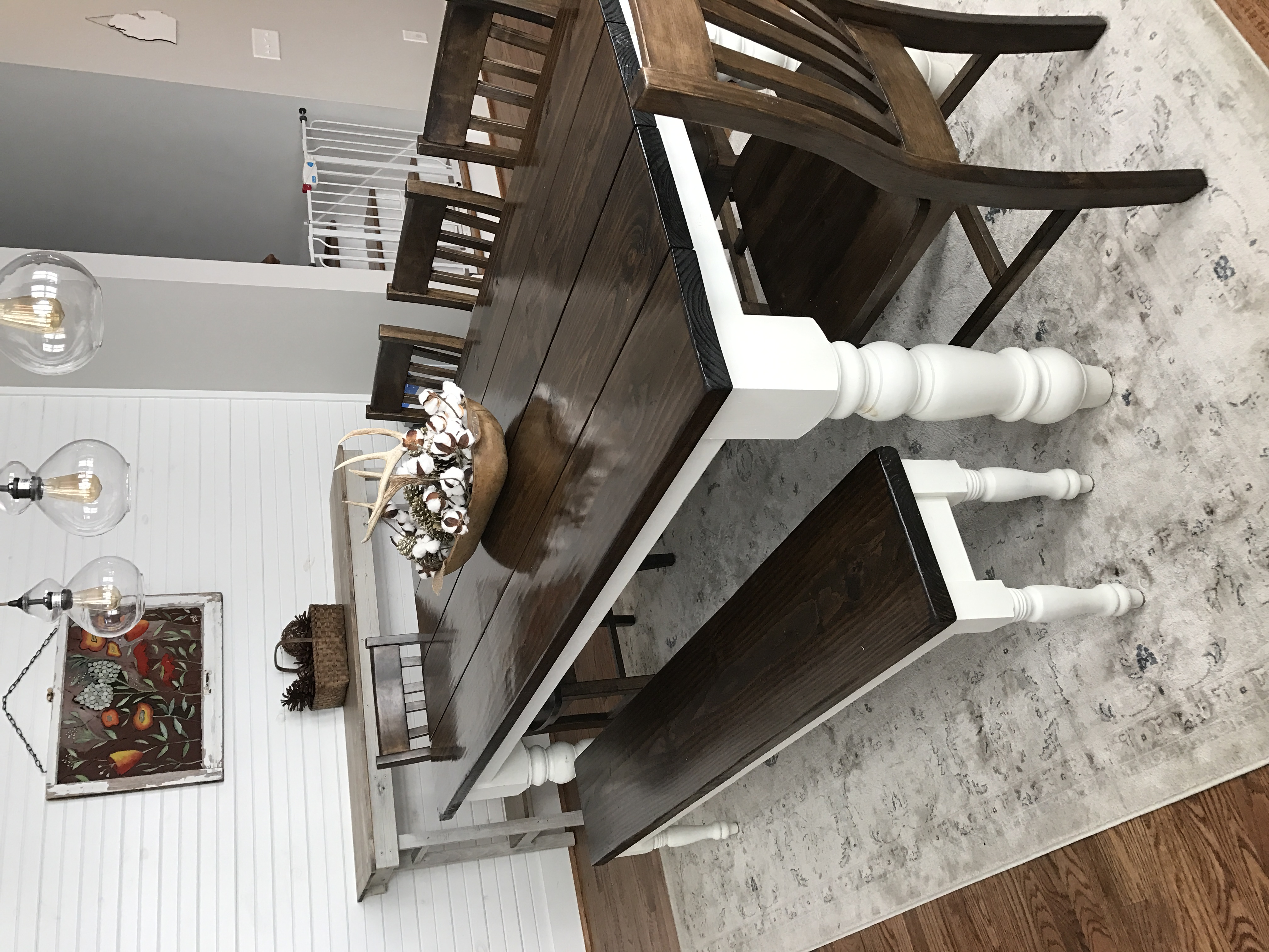 Custom built, solid wood Modern Farmhouse Dining Furniture. 7 L x 37