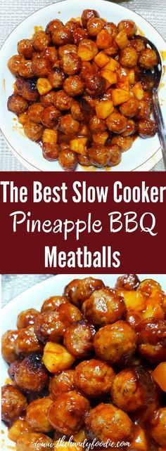 Slow Cooker Pineapple BBQ Meatballs is one of the best slow cooker recipe I've tasted. crockpot recipe l slow cooker l BBQ recipe