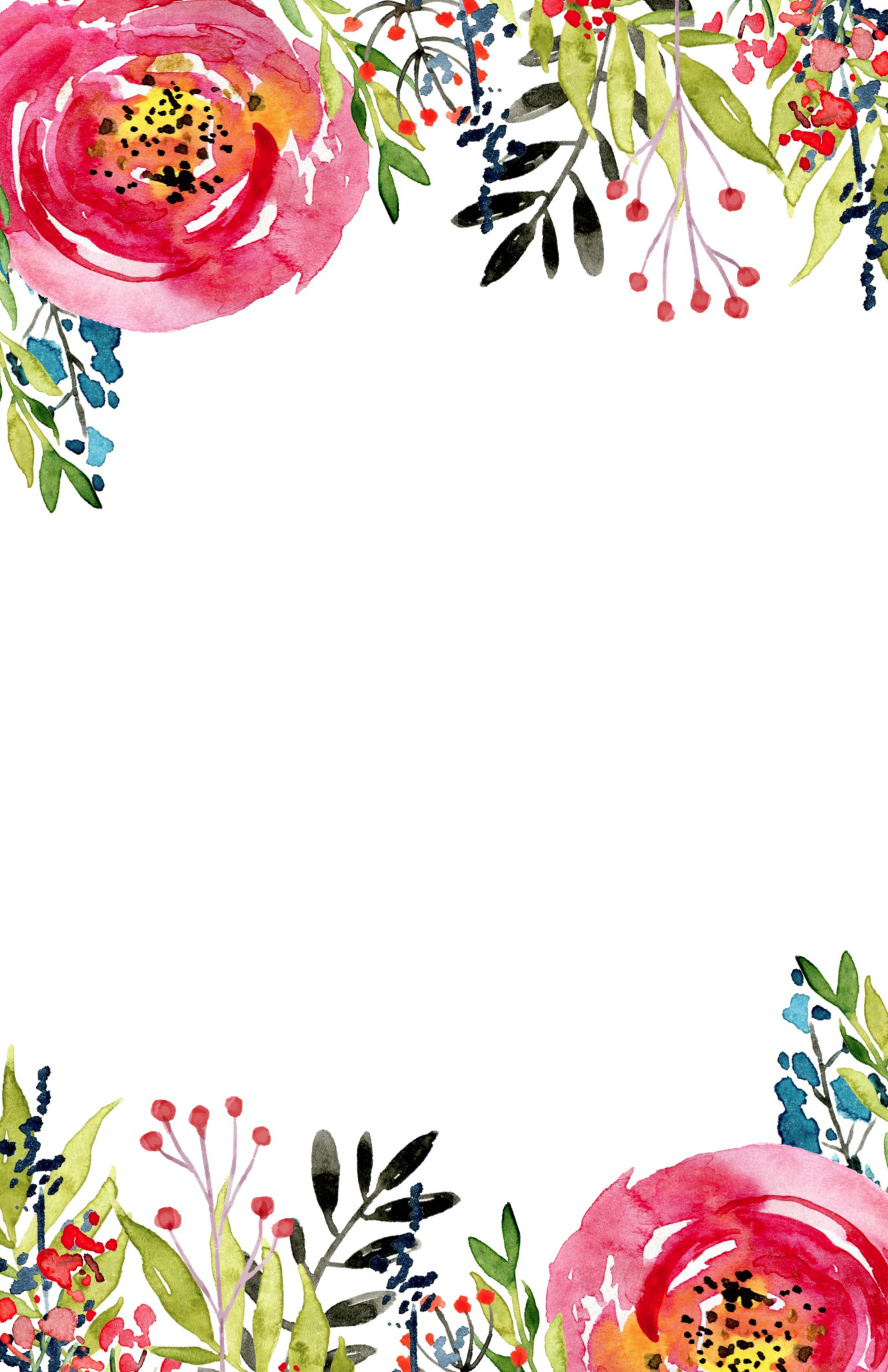 Floral Invitation Template free printable. Free invitation template for a birthday party, wedding, bridal shower, baby shower.