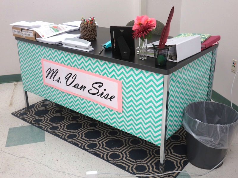 My classroom teacher desk that I designed using wrapping paper and construction paper.  I used regular tape to attach it to the