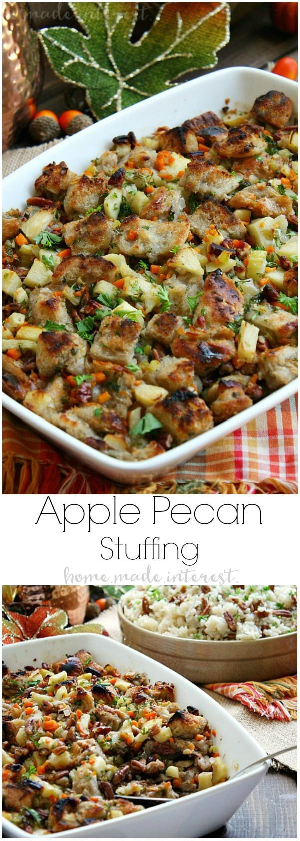 This Apple Pecan Stuffing recipe is a delicious blend of buttery bread cubes, apples, and pecans. Make this Thanksgiving stuffing