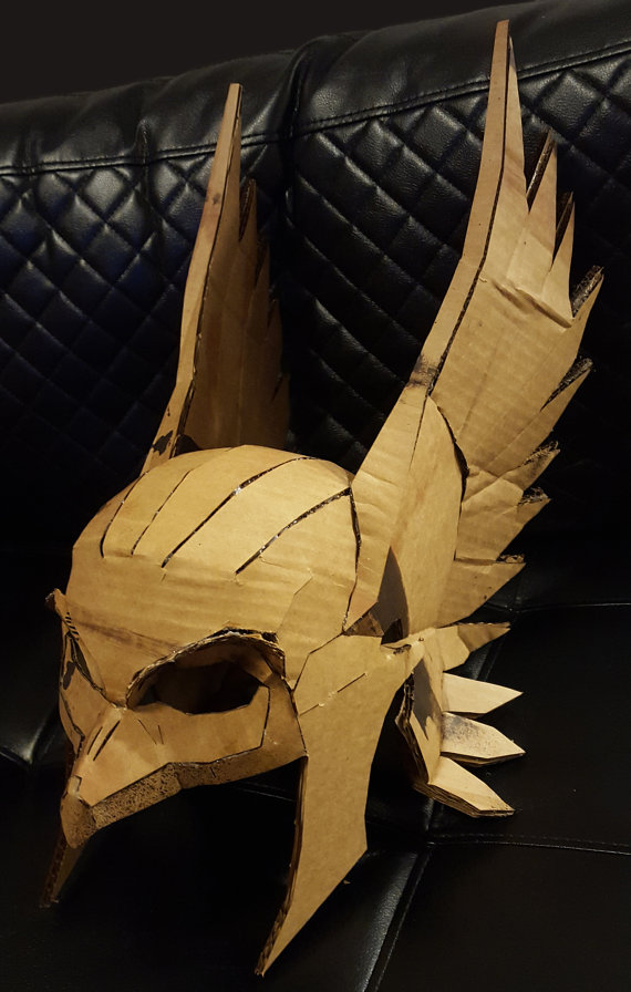 Hawkman Mask DIY Cardboard Helmet Kit Thor Bird Man by Calabozoida