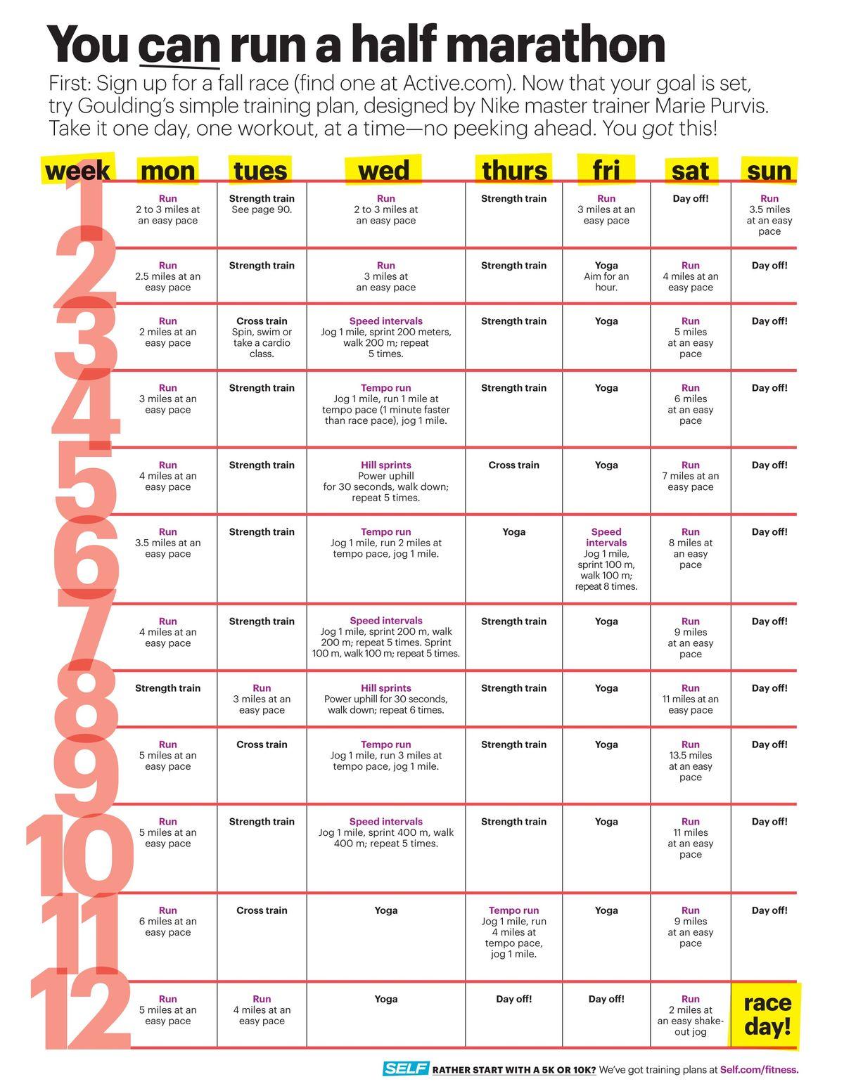 1/2 marathon training plan