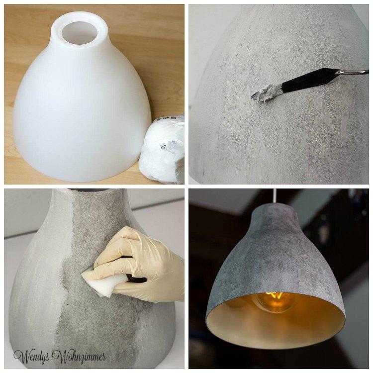 Betonlampe mit Beton Effektpaste selber machen * DIY * DIY Anleitung Deutsch * Betonlook * betonlampe-betoneffekt-diy