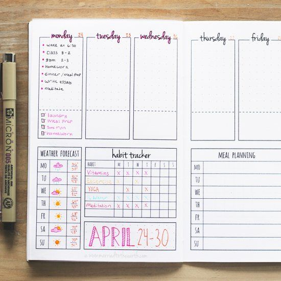 Download this printable weekly bullet journal spread and make your own DIY planner booklet!