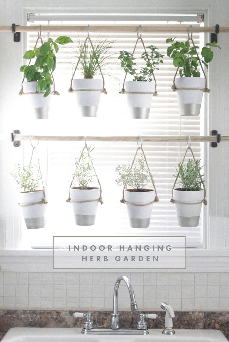 DIY Indoor Hanging Herb Garden // Learn how to make an easy,  budget-friendly hanging herb garden for your window. It will make