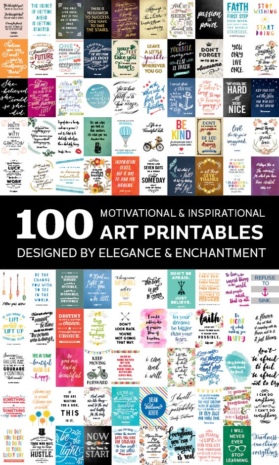 100 inspiring and motivational art printables, designed by Elegance and Enchantment. Sign up for a subscription to gain access to