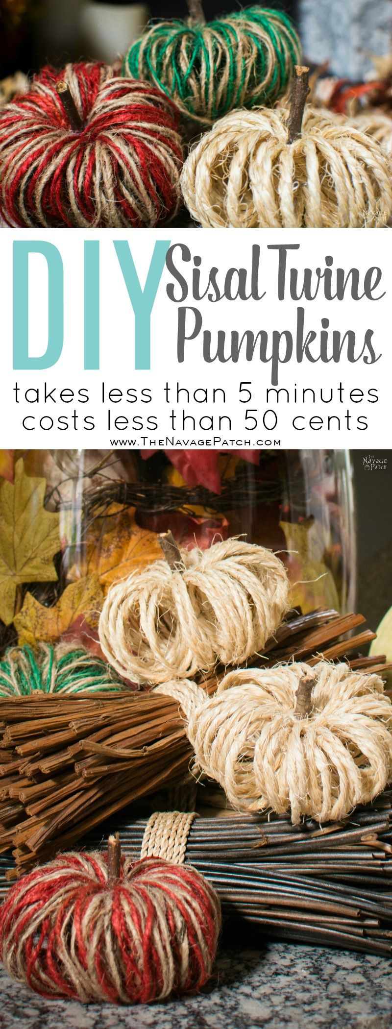 DIY Sisal Twine Pumpkins | How to make dual colored twine pumpkins | Easy and budget friendly DIY fall decoration | Dollar store
