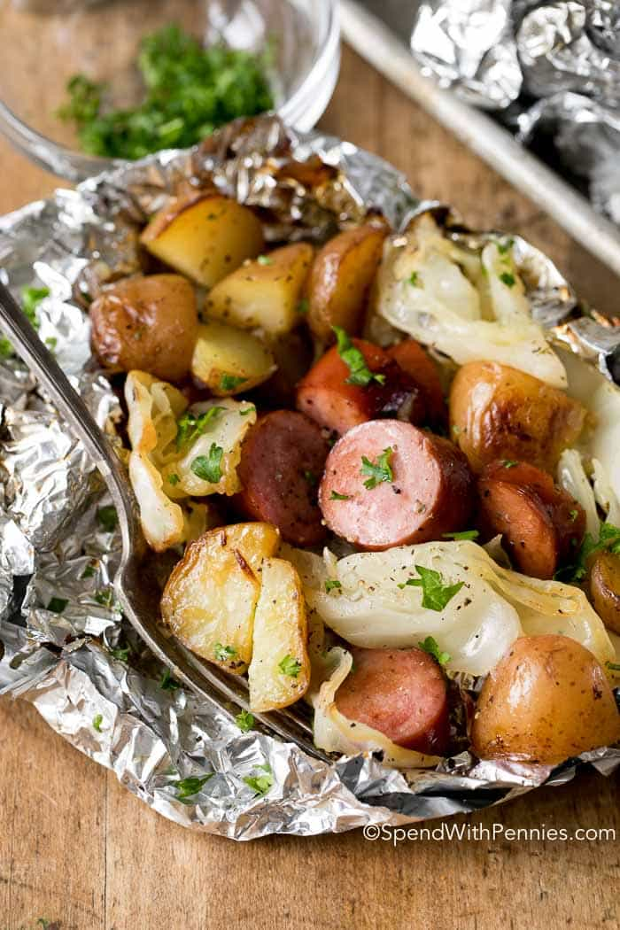 Cabbage and Sausage Foil Packets satisfies the need for comfort food! This recipe has cabbage, sausage, potatoes and onions all