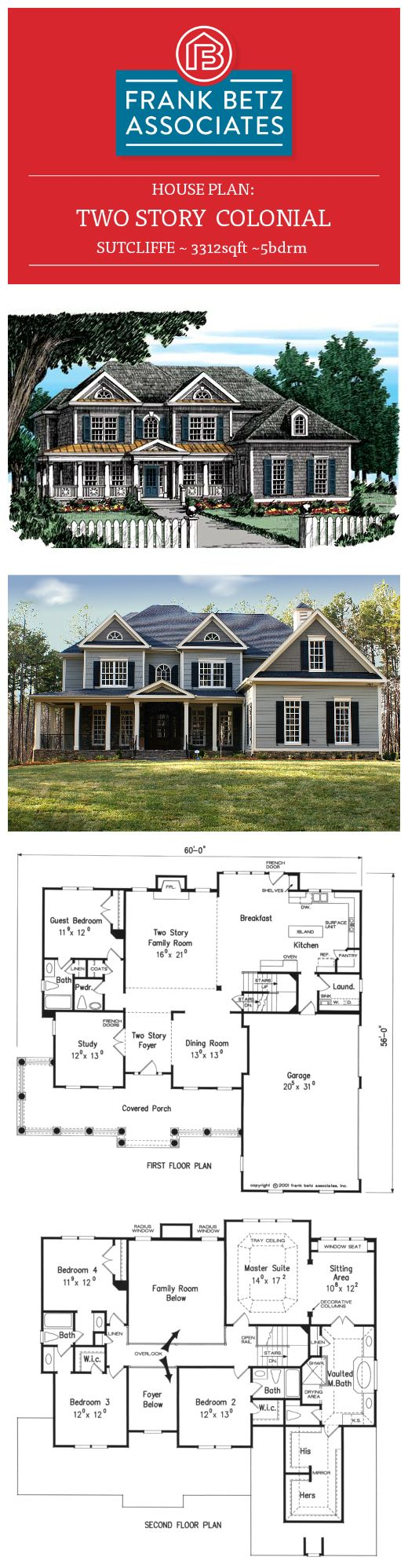 Sutcliffe: 3312sqft|5bdrm two-story Colonial house plan by Frank Betz Associates Inc.  ~ Great pin! For Oahu architectural design