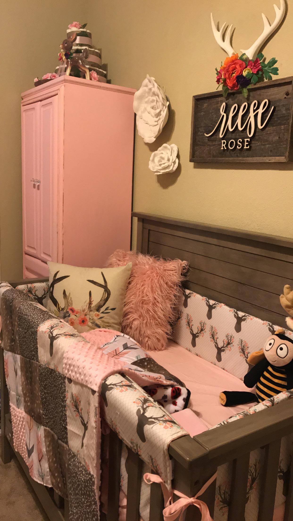 Baby girl room- antlers, deer, flowers, pink and grey nursery -   Best Baby girl rooms ideas