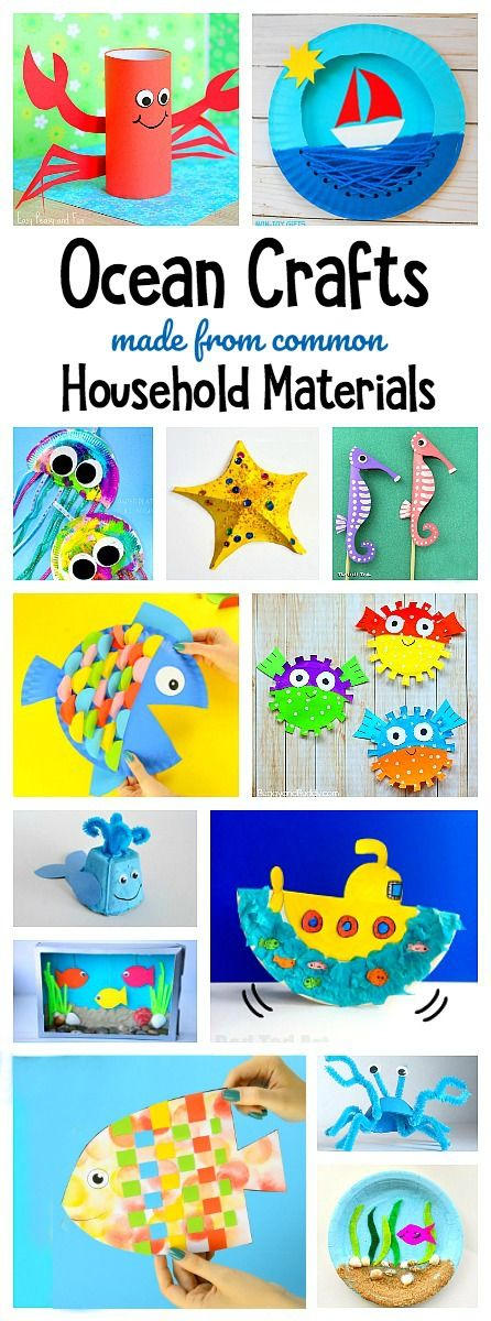 Over 65 ocean crafts for kids using common materials from around the house using paper plates, plastic bags, egg cartons etc.