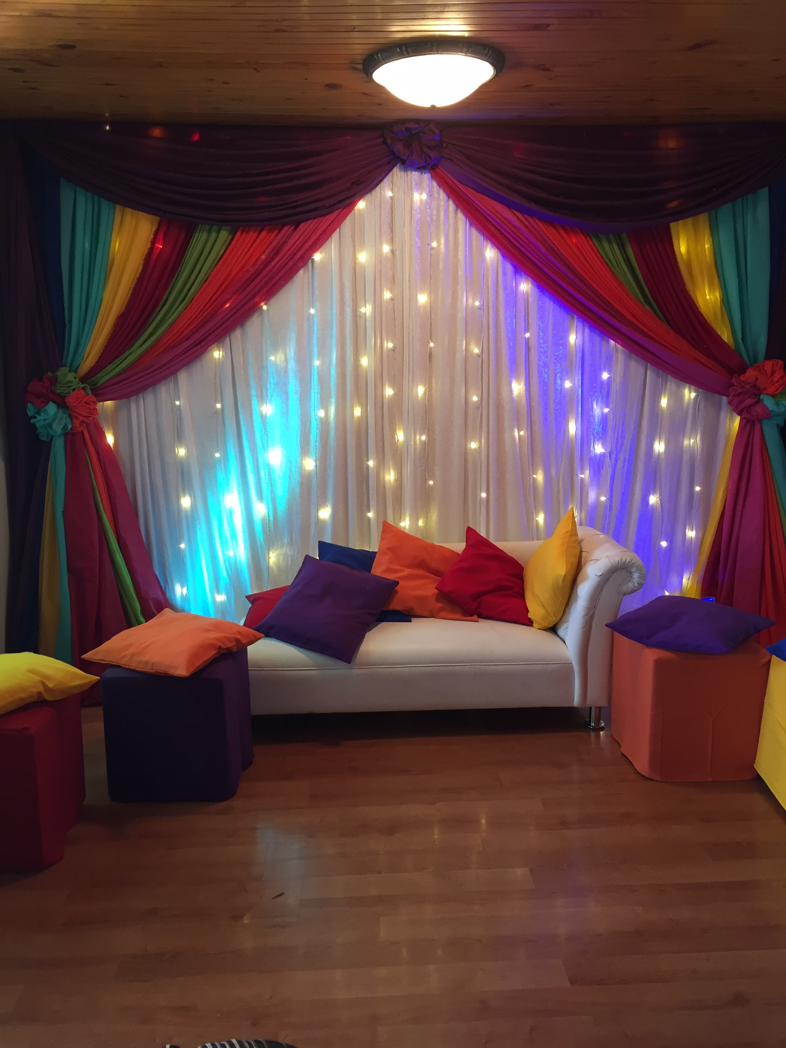 Colourful indoor Mehndi decor