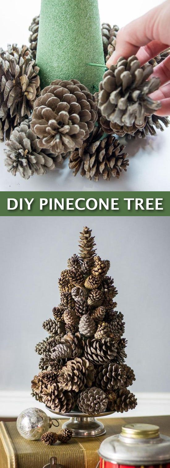 Easy DIY Cheap Christmas Decor-- super easy pine cone tree craft! Lots of craft ideas for adults for the home, for fun, for gifts,