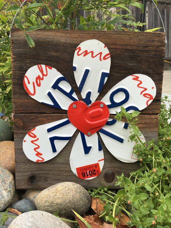 License Plate flower, Garden Flower, one of a kind -   24 flower garden crafts ideas