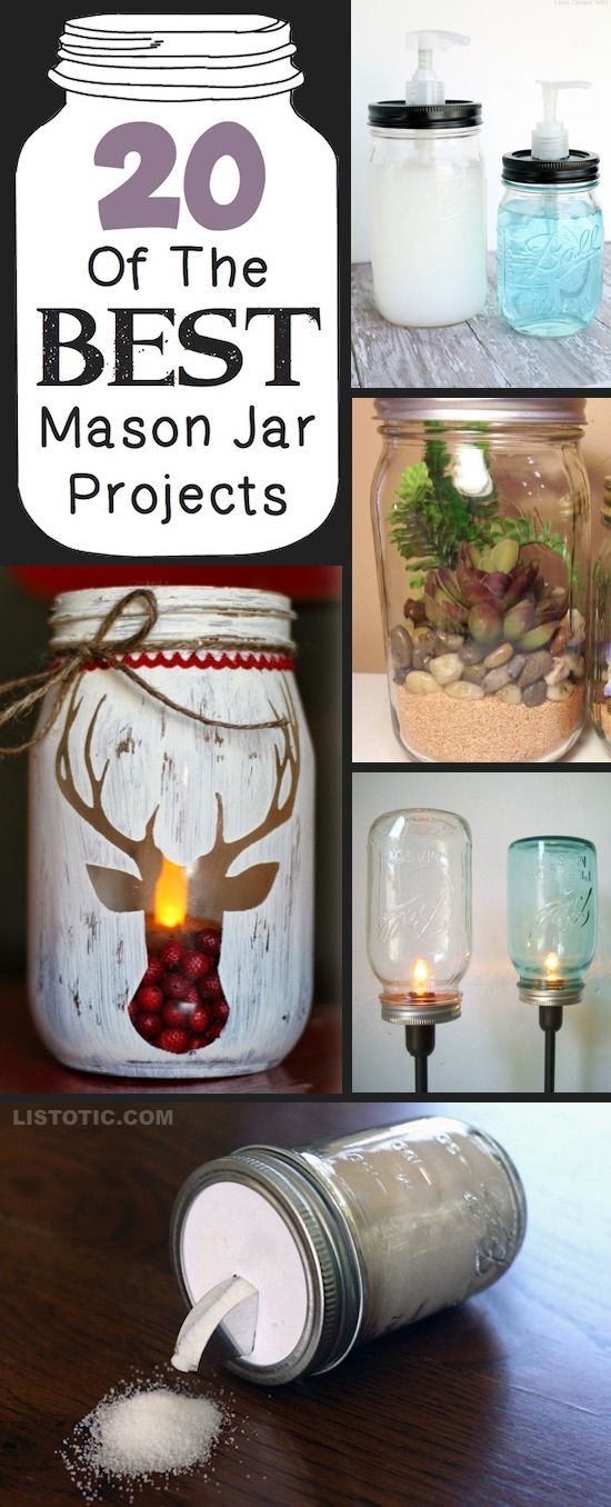 20+ Of The Best DIY Mason Jar Crafts (for home & more!) -   20 crafts gifts love ideas