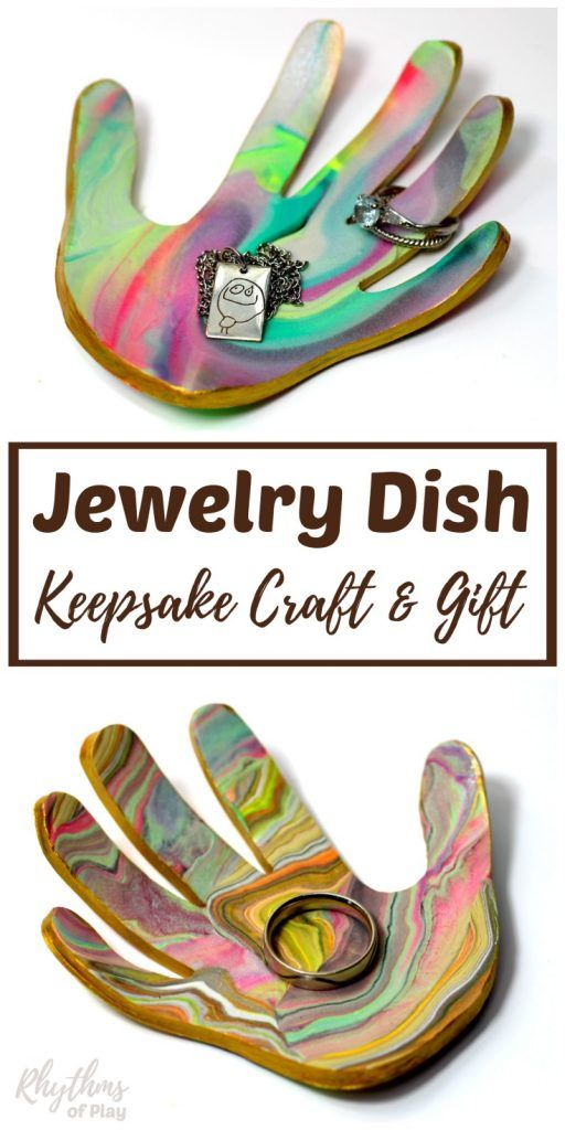 Handprint Art Jewelry Dish and Ring Bowl - VIDEO -   20 crafts gifts love ideas