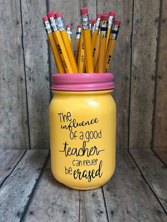 Teacher Pencil holder mason jar, pint size 16 oz