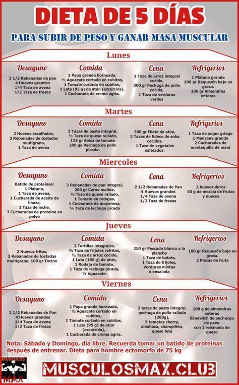 ▶ Dieta de 5 días para Subir de Peso y Ganar Masa Muscular -   17 dietas para masa ideas