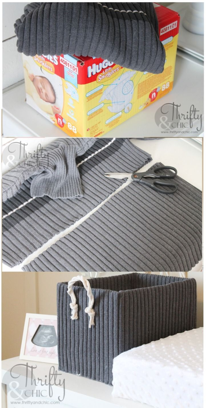 Cute Storage Boxes From Old Sweaters and Boxes -   12 DIY Clothes Storage how to organize ideas