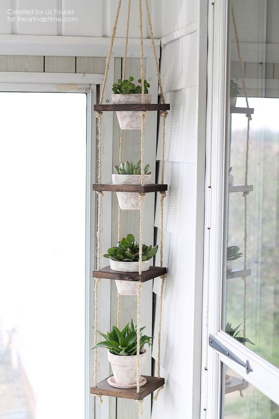 DIY Vertical Plant Hanger -   11 plants Decor corner ideas