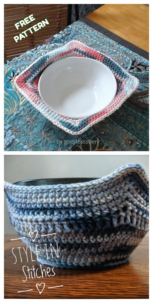 15 knitting and crochet Free Patterns hot pads ideas