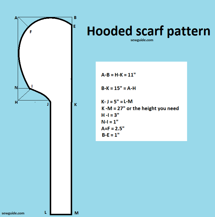 Make an Easy Hooded scarf - DIY pattern & tutorial - Sew Guide -   17 DIY Clothes Scarf free pattern ideas