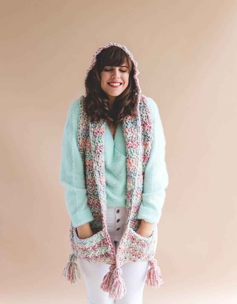 Crochet Pattern Storybook Hood + Pocket Scarf pdf instant digital download -   17 DIY Clothes Scarf free pattern ideas