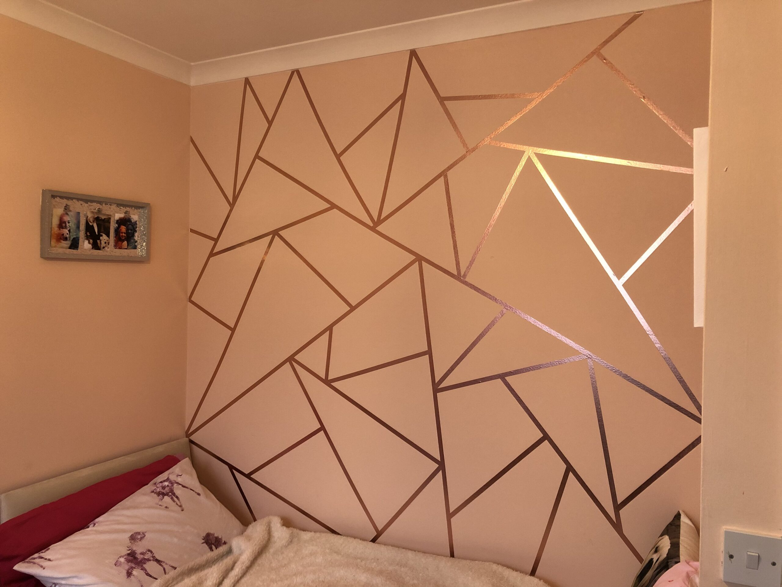 Rose gold washi Tape geometric wall design -   13 room decor Gold washi tape ideas