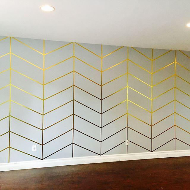 "Uproar Decor on Instagram: ""Herringbone Metallic Gold WASHI TAPE wall!! Decided to DIY a new backdrop for my photographs. $40 Bucks & 5 hours later Wa-La! 😍 So easy…"" -   13 room decor Gold washi tape ideas"