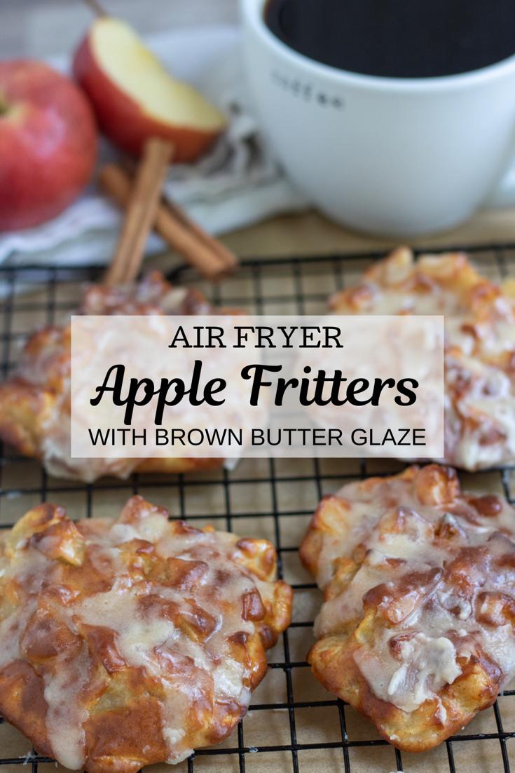 Air Fryer Apple fritters with Brown Butter Glaze - Wine a Little, Cook a Lot -   18 air fryer recipes easy dessert ideas